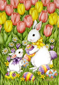 Bunnies & Tulips Flag 28x40