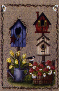 Crackle Birdhouse Flag 28x40