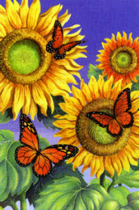 Butterflies & Sunflowers flag 28x40