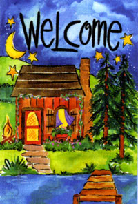 Welcome Cabin Flag 28x40