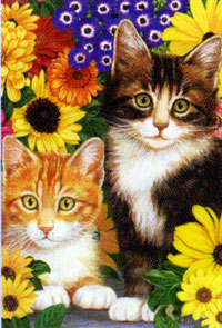 Cats & Flowers Flag 28x40