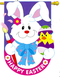 Bunny With Chick Applique Flag 28x44