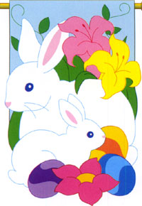 Spring Bunny Applique Flag 28x44
