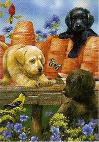 Garden Puppies Flag 28 x 40