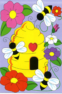 Bee House Applique Garden Flag 13.5x18