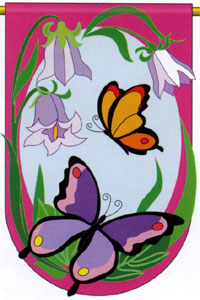 Butterflies Applique Garden Flag 13.5x18