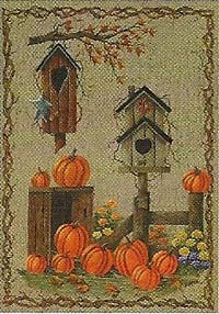 Birdhouses & Pumpkins Flag 28 x 40