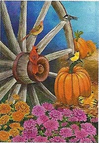 Autumn Wagon Wheel Flag 28x 40