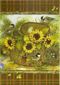 Sunflowers & Chickadees Flag 28 x 40