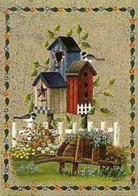 Birdhouses & Wheelbarrow Garden Flag 12 x 18