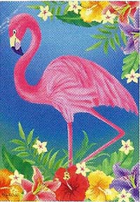 Flamingo Floral Flag 28 x 40