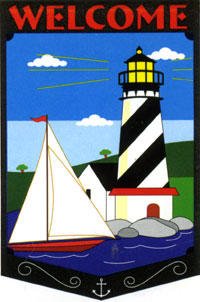 Welcome Lighthouse Applique Flag 28x44