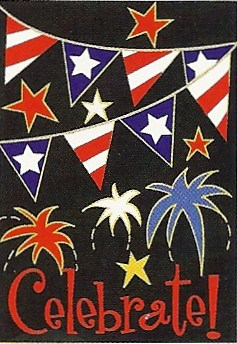 Patriotic Celebrate Applique Garden Flag 12 x 18
