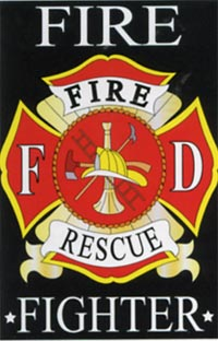 Fire Fighter Applique Flag 28x44 (Letters are appliqued on both sides)