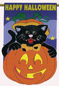 Black Cat Applique Garden Flag 13.5x18