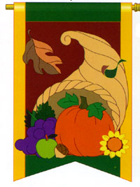 Cornucopia Applique Flag 28x44