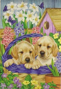 Basket Pups Silk Reflections Flag 29 x 43