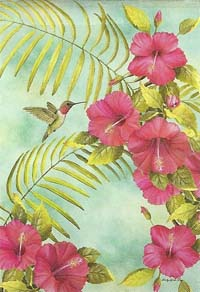 Hibiscus and Hummingbird Silk Reflections Flag 29 x 43