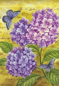 Blue Hydrangeas Silk Reflections Flag 29 x 43