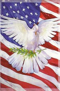 Peace Dove Silk Reflections Flag 29 x 43