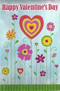 Happy Valentine's Day Silk Reflections Garden Flag 12.5 x 18