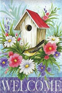 Birdhouse Welcome Silk Reflections Flag 29 x 43