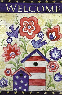 Patriotic Birdhouse Silk Reflections Flag 29 x 43