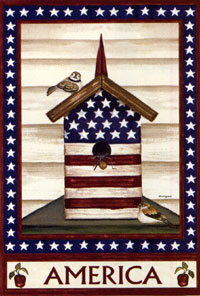 Americana Birdhouse Silk Reflections Flag 29x43