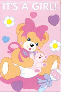 It's a Girl Bear Applique Flag 28x44