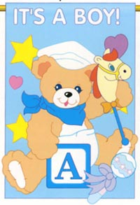 It's a Boy Applique Garden Flag 13.5x18 (Letters are appliqued on both sides)
