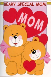 Love Mom Applique Garden Flag 13.5x18