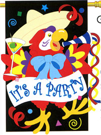 It's A Party Parrot Applique Flag 28x44