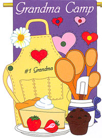 Grandma Camp Applique Garden Flag 13.5x18