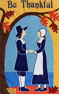 Be Thankful Pilgrims Applique Garden Flag 12.5x18