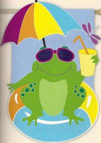 Cool Frog Deluxe Applique Garden Flag 12.5 x 18