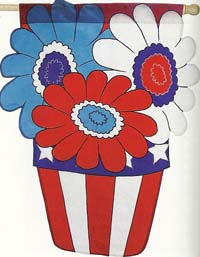 Patriotic Flower Deluxe Applique Flag 28 x 44