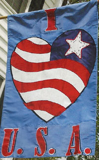 I Love USA Applique Flag 28 x 44