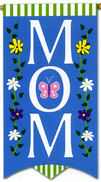 MOM Applique Banner Flag 25x48
