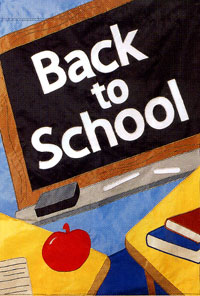 Back to School Chalkboard Applique Flag 28x44