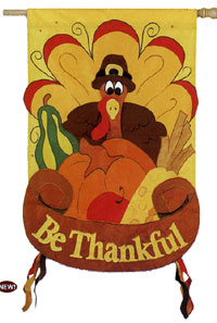 Be Thankful Turkey Applique Flag 28x44
