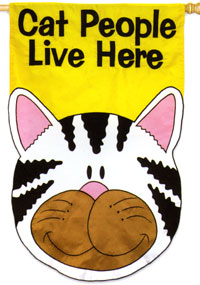 Cat People Live Here Applique Flag 28x44