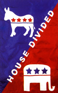 House Divided Political Applique Garden Flag 12x18