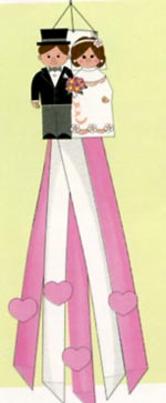 Bride and Groom Wedding Nylon Windsock 12x60