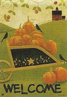 Pumpkin Cart Garden Flag 12.5 x 18