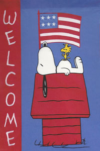 Patriotic Welcome Snoopy on Doghouse Flag 28x40