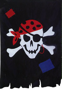 Tattered Jolly Roger Applique Flag 28x40