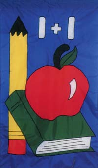 Back To School Appliqued Flag 28x48
