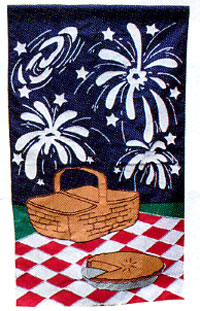4th Of July Applique Flag 28x48