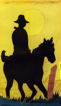 Riding Into The Sunset Applique Flag 28x48
