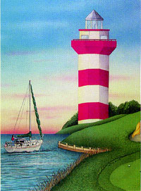 Lighthouse and Sailboat Flag 28x40 d/c